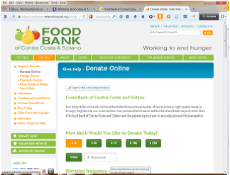 Food Bank of Contra Costa and Solano website screenshot